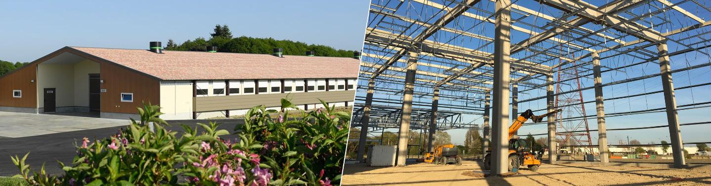 Bâtiment final et bâtiment en construction